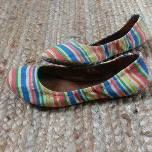 Lucky Brand Striped Glitter Ballet Flat Shoes Sz 8